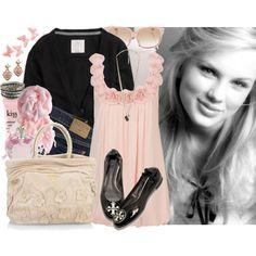 pink shirt flats and bag!