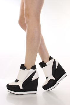 White Faux Leather Two Tone Sneaker Wedges