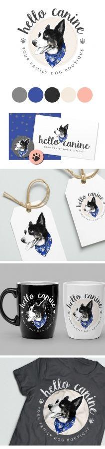 hello canine, dog logo, watercolour dog, dog illustration, watercolor dog, pet logo, pet shop branding, blue branding, pet accessories branding, pet logo