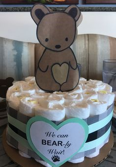 """""""We can BEARly wait"""" camping theme gender neutral baby shower gray/black plaid with mint; DIY lantern from pots; DIY infinity scarf favors; DIY mini tent"""