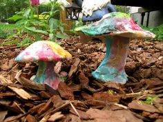 Kids craft - Colorful clay mushrooms for the garden