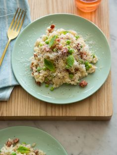 English Pea Bacon and Mint Risotto