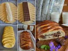 Bounty bread Note: replace bar with chips Nutella, Romanian Food, Grilled Chicken Recipes, Bread And Pastries, Homemade Cakes, Snack, Hot Dog Buns, Pesto, Sweet Recipes