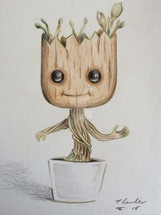 Dancing baby Groot colour pencil drawing by billyboyuk.deviantart.com on @DeviantArt