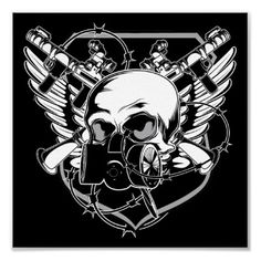 Military Gasmask Skull Insignia Poster from http://www.zazzle.com/gun+posters