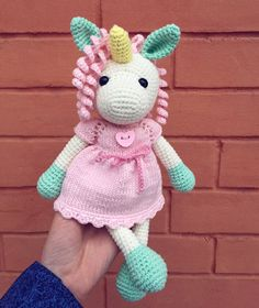 Crochet unicorn amigurumi toy! Soft cotton animals, cute toy for girl's birthday, baby shower gift