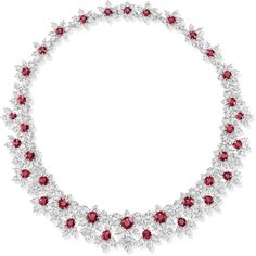 The Incredibles by Harry Winston ruby-and-diamond cluster necklace set in platinum; price upon request!