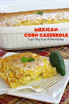 Mexican Corn Casserole - Can't Stay Out of the Kitchen Absolutely sensational corn casserole recipe with a Tex-Mex twist since this recipe uses green chilies and Mexicorn. Baked Creamed Corn Casserole, Mexican Corn Casserole, Sweet Corn Pudding, Creamy Corn Casserole, Corn Pudding Recipes, Easy Casserole Recipes, Mexican Christmas Food, Christmas Recipes, Christmas Holidays