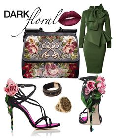 Floral Sleek by leikena on Polyvore featuring polyvore, fashion, style, Dolce&Gabbana, Chico's, Lime Crime and clothing