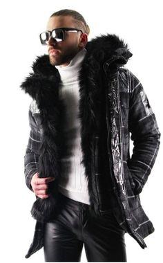 f967d5470e6 Fur Lined Parka Jacket in Grey Plaid. This fur lined parka jacket for men is