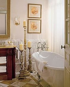 beautiful bathroom inspiration for spa-inspired thank you gifts this holiday season, like artwork or candlesticks for the bathroom... The Hostess Holiday Gift Guide: Bathroom Edition from Bathroom Bliss by Rotator Rod