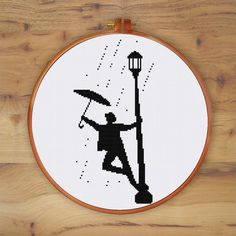 Singin' in the rain, movie cross stitch pattern, silhouette cross stitch…