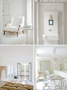 Whites.  I think the key to keep it from looking sterile is one delicate darker element: chair frame, mirror, bedspread, a plant.