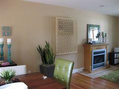 Moors Ellipses AC cover Air Conditioner Cover Indoor, Air Conditioner Screen, Decorative Screen Panels, Window Unit, Vinyl Decor, Lattice Design, My New Room, Home Projects, Interior Design