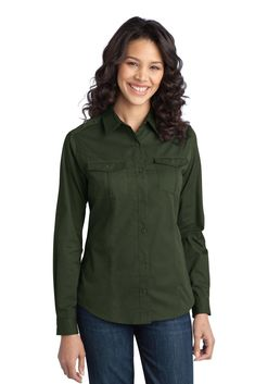 63d05dc94987 Port Authority Casual Wear on sale at Full Source! Order the Port Authority  Ladies Stain-Resistant Roll Sleeve Twill Shirt - Steel Grey online or call