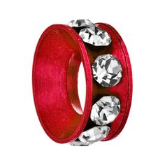Silver/ P Red Ring Crystal Clear For Beads Charms Bracelets Fit All Brands Pugster.com