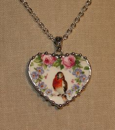 Broken China Jewelry Robin And Roses Mt. Clemens by robinsrelics, $58.00