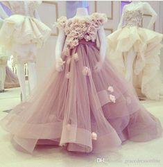 Lavender Flower Girls Dresses for Weddings Hand Made Flowers Organza Girls Pageant Dresses Sweep Train Custom Made Fairytale Dresses 2018 from gracedressonline, $76.39   DHgate Mobile