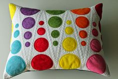 Quilted pillow cover - colorful circles by Jana Dohnalová
