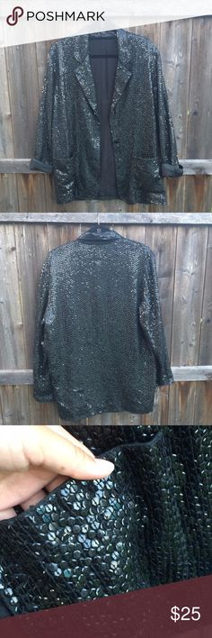 Matte Black Sequin Blazer--Plus Size Super unique and interesting piece. It used to be my sister's but it's not really her style anymore. Could be styled so nicely though with jeans and heels for a night out. This blazer may have been handmade because it has no tags at all. The sequins are all over and matte black. It has two front pockets and a black lining. There are areas where sequins are missing--PLEASE SEE PICS. They aren't too noticeable but they are there.  Best fit 12? 14? 16?…