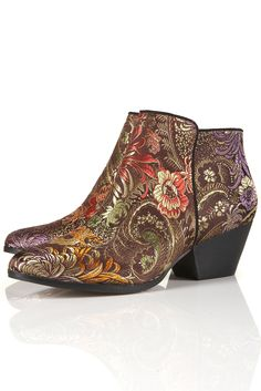 Beautiful, elaborate design!  Topshop Ava Side Zip Tapestry Western Ankle Boot
