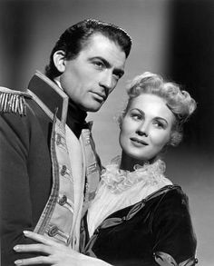 """Gregory Peck _ Virginia Mayo in Captain Horatio Hornblower R.N. (1951) I loved the way he says """"Lady Barbara""""...hence my pet name for myself..LOL"""