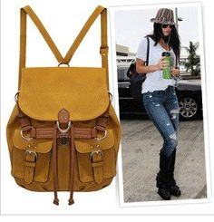 Aliexpress.com : Buy Street Snap Hollywood Womens Backbag Backpack Tote Bag Shoulder Bag Leather Yellow from Reliable backbag suppliers on lucca chens store