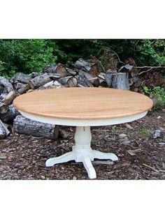 Country Farm Round Classic Pedestal Table, Large Pedestal, Apron, Thick Top, Seamless, Thumbnail Edge, Natural Top, Ivory Base, Medium Rub, Light Distressing