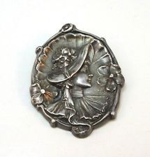 RARE  STERLING SILVER ART NOUVEAU PIN REPOUSSE  VICTORIAN LADIES  PIN BROOCH **