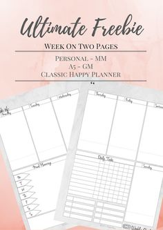 Malena Haas: ❤ ULTIMATE FREEBIE Friday❤ Week On Two Pages In THREE Sizes! A5, Personal, and Classic Happy Planner