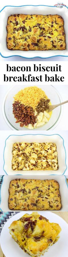 This bacon biscuit breakfast bake is an easy and delicious breakfast casserole recipe! Perfect for brunch! #breakfastcasserole #brunch #brunchrecipe #breakfast #breakfastrecipe #bacon #mothersdaybrunch #easterbrunch #christmasbreakfast #holidaybrunch #breakfastfordinner