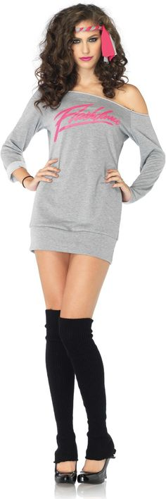 Sexy 80s Flashdance Sweatshirt Dress Costume 80s Costumes - Mr. Costumes