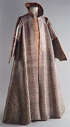 he so-called Venetian coat in the National Museum of the Renaissance is one of the rare costumes from the end of the 16th century conserved in France. The fabric is composed of a network of small juxtaposed lozenges in brown silk on a rose colored base, similar to the small child's garment preserved in the Landesmuseum in Detmold.