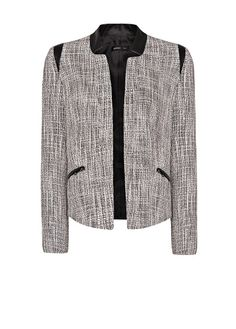 MANGO - Leather panels bouclé jacket