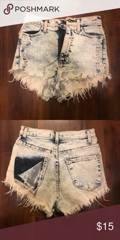 High waisted shorts Distressed white washed jean shorts hight waisted. Never wore Shorts Jean Shorts