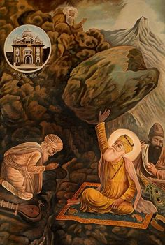 An Episode From the Life of Guru Nanak, Oils Oil on Canvas Guru Nanak Ji, Nanak Dev Ji, All God Images, Hd Images, Baba Deep Singh Ji, Guru Arjan, Guru Nanak Wallpaper, Guru Nanak Jayanti, Guru Pics