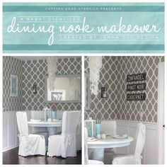We were just WOW'd by jenna sue design co.'s Rabat Stenciled dining nook makeover.   Tell her how much you 'like' it and then check out the transformation on our blog: http://blog.cuttingedgestencils.com/?p=10986  #cuttingedgestencils #stencils #stenciling #wallstencils