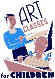 This poster by Albert M. Bender shows a boy and a girl painting: 'Art Classes for Children.' Bender illustrated the poster as part of the WPA Art Project in Chicago Illinois, 1940.