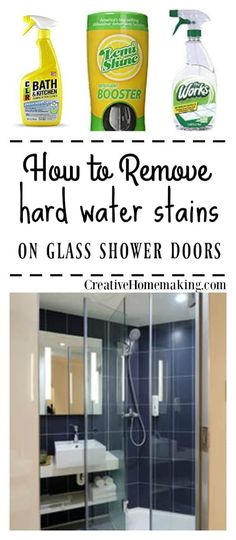 Easy cleaning tips for removing hard water stains and deposits from glass shower doors. Some of my favorite quick bathroom cleaning hacks! Deep Cleaning Tips, House Cleaning Tips, Natural Cleaning Products, Cleaning Solutions, Spring Cleaning, Cleaning Schedules, Green Cleaning, Cleaning Shower Glass, Bathroom Cleaning Hacks