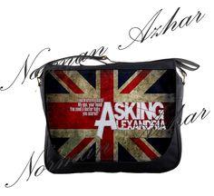 """Asking Alexandria 14"""" Messenger Bag Shoulder School Laptop NoteBook Backpack 03"""