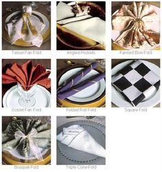 Blog Napkin Folds. Tassel fan, Angled pockets, Fanned bow, Goblet Fan, Folded Roll, Square fold, bouquet or ringed fan, Triple cone.