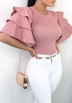 Shop Roundneck Ruffle Sleeve Blouses Casual Tops – Discover sexy women fashion at IVRose Mode Outfits, Fashion Outfits, Womens Fashion, Fashion Hacks, Petite Fashion, Fashion Clothes, Classy Outfits, Trendy Outfits, Sexy Outfits
