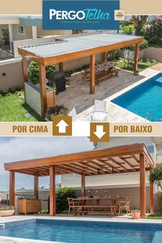 Special cover for pergola. Your pool ready to receive the summer. Gazebo, Outdoor Pergola, Home Projects, Home Crafts, Diy Crafts, Patio Design, House Design, Barbecue Design, Backyard Bar