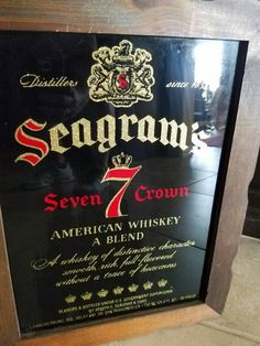 Vintage Wooden Framed Seagrams 7 Mirror Sign by AnachronismAlley on Etsy https://www.etsy.com/listing/467503198/vintage-wooden-framed-seagrams-7-mirror
