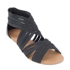 Elastic low wedge sandal. $40