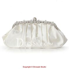 New Arrival Satin Clutch with Rhinestones and Ball Clasp Closure