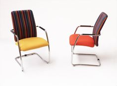 We love these #PSISeating Chairs upholstered in our Eaton Stripes.