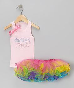 Look at this Pink 'Daddy's Girl' Tank & Rainbow Sequin Tutu - Infant & Toddler on #zulily today!