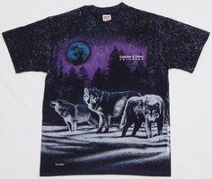 Vtg-WOLF-PACK-T-Shirt-MEDIUM-Black-ALL-OVER-PRINT-Colorado-Howl-Wolves-Travel