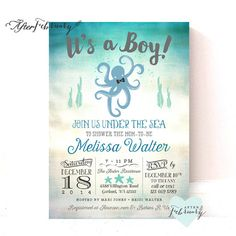 Octopus Baby Shower Invitation // Under the Sea by AfterFebruary